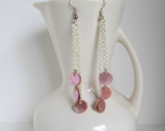 Blush You Pale Pink Shell Duster Earrings