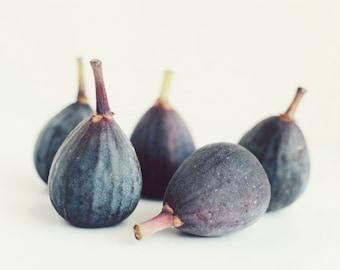 "Fig still life print, food photograph, minimal modern kitchen wall art, purple blue white dining room decor 11x14 ""Five Figs"""