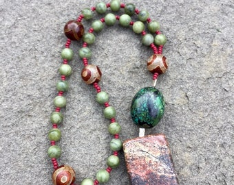 Anglican Rosary/ Protestant Rosary- Jade, Tibetan agate (Dzi) and turquoise prayer beads with mountain jasper pendant