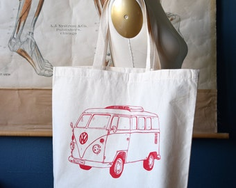 Canvas Tote Bag - Screen Printed Recycled Cotton Grocery Bag - Large Canvas Shopper Tote - Reusable and Washable - Eco Friendly - VW Bus