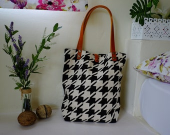 Canvas Tote bag, Book bag, Shopping bag, Casual tote, School bag, grocery bag ,Tote Bag with Leather Straps