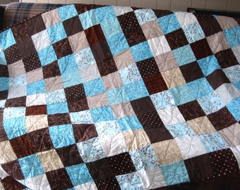 Modern Lap Throw Patchwork Quilt, Aqua Teal Brown Quilt, Couch Throw, Wheelchair blanket, Picnic Quilt, Tailgate Quilt - Ready to Ship