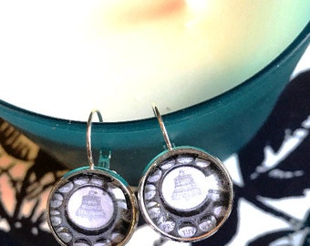 Rotary telephone cabochon earrings- 16mm