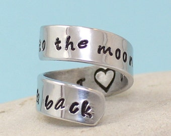 I Love You to the Moon and Back Ring - Personalized Ring - Adjustable Aluminum Wrap Ring.. Best Gift. Gift....