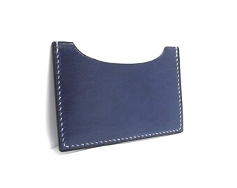 Midnight Blue Leather Card Holder, Hand Stitched in Concrete Gray