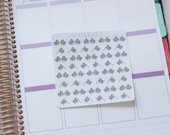 Hand Drawn Racing Flags / Chequered Flag Planner Stickers, perfect for Erin Condren, Happy Planner, Inkwell Press