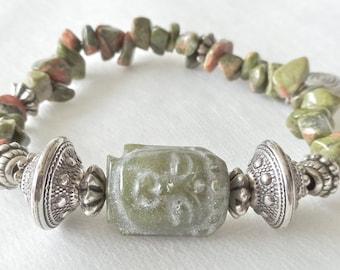 Carved Buddha with Green Pink Unakite Stone Stretch Bracelet