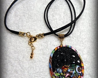 Polymer Clay Black and Multi- Color Pendant Necklace