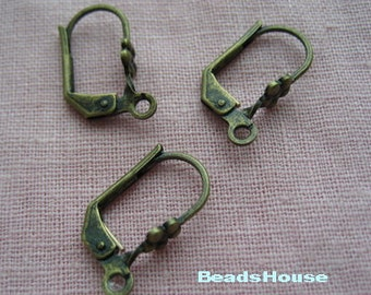 10% OFF - 20pcs Aantique Brass Earwire Hook, Nickel Free