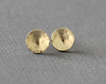 Moon gold studs, disc concave earrings in solid yellow gold and rose gold