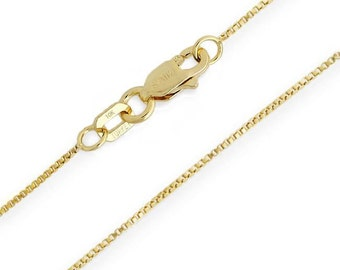 "10K Yellow Gold Solid Box Chain .55mm wide - Select Custom Length 14"", 16"", 18"", 20"", 22"", 24 Inch - Lobster Claw Clasp -Gift for Her"