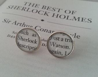 Sherlock Holmes 'Sherlock & Watson' Stud / Post Earrings