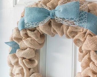 Spring Wreaths For Front Door Farmhouse Wreath, Outdoor Easter Decorations Burlap Chicken Wire Bow - LIMITED STOCK