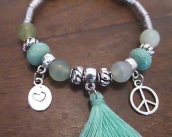 Beautiful jade and Green Opal stone bracelet.