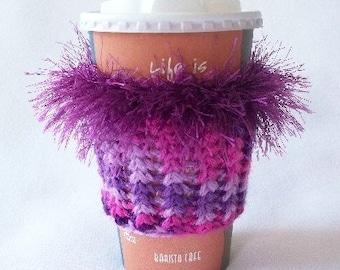 Crochet Coffee Cup Cozy Sleeve Purple and Raspberry with Plum Eyelash yarn Trim