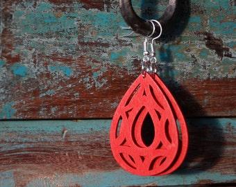 laser cut earrings, red earrings, wooden earrings, ten dollar gift, summer earrings, red laser cut earrings, red wooden earrings, laser