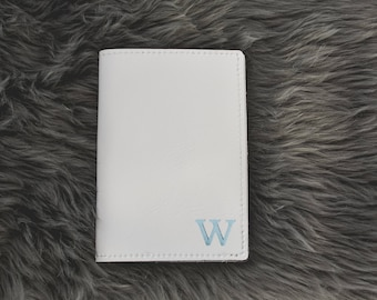 Personalized Leather Passport Holder |Custom White Leather Passport Cover Travel Wallet Bridesmaid Gift for Her Wife | Monogram Wedding Gift
