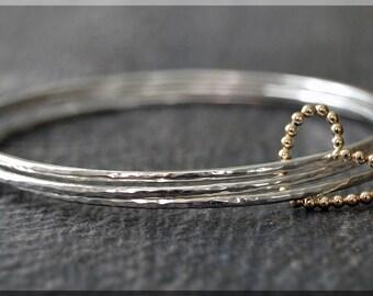 Set of 3 Sterling Silver Gold Filled Heart Bangle Bracelets, Wrapped In Love, Gold Filled Floating Heart Bangle, Heart Bracelet