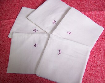 """Pocket Squares - Monogrammed Pocket Square Men's Pocket Square White Monogrammed - Men's Pocket Square 9"""" X 9"""""""