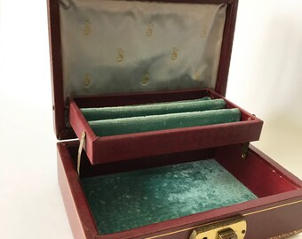 Small Vintage Oxblood Jewelry Box / Travel Case