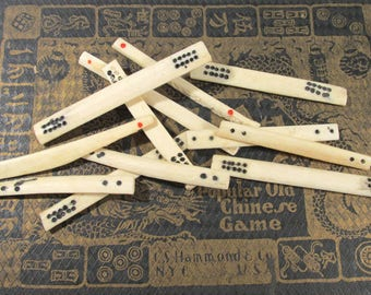 Mah Jongg Bone Counters VINTAGE Mah Jong Bone Counter Sticks Twelve (12) Ox Bone Counters Mahjong Vintage Art Supplies Game Piece (T300)