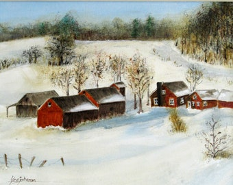 "original watercolor painting 11""x14"" pen + wash ink & watercolor farm red barn winter landscape"
