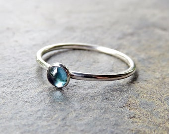 4mm London Blue Topaz Stacking Ring in Sterling Silver - Choose Smooth, Hammered, or Antiqued Finish - Small Round Cabochon Gemstone Ring
