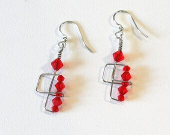 Firehouse - Wire and Crystal Earrings