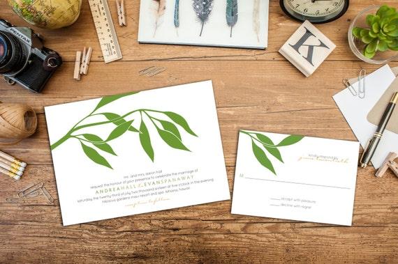 Eucalyptus Wedding Invitation Set, Classy Wedding Invites, Elegant Branch invitations, Wedding response cards, Thank you cards, Leaf invite