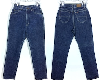 28 x 32.5 | Lee Riders vintage womens blue jeans / 80s high waisted Lee mom jeans / skinny tapered blue denim jeans / jeans size 28