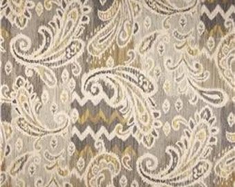 Grey, Beige, Metallic Gold and Ivory Paisley Pillow Covers in Waverly Splash of Color Twill Mineral / Custom Handmade Home Decor