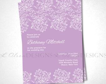Flourish Lace Wedding Invitation - Lavender - DIY Printable
