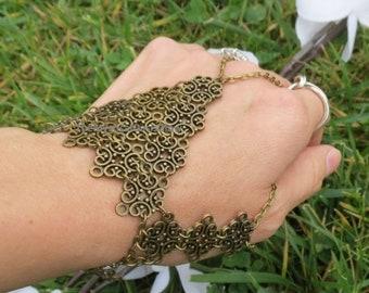 Slave bracelet, Slave bracelet ring, ring bracelet, finger bracelet, renaissance, mid-century, body jewelry, festival jewelry