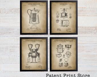 Coffee Making Patent Print Set. Coffee Making Patent Prints. Coffee Patent. Coffee Art Print. Home Decor. Kitchen Art. Dining Room Art Print