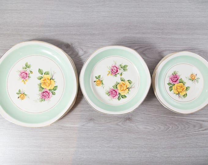 Vintage Floral Plates and Bowls Set / Mint Green and Flowers / Royal Tudor Ware / Baker Bros Ltd. Made in England