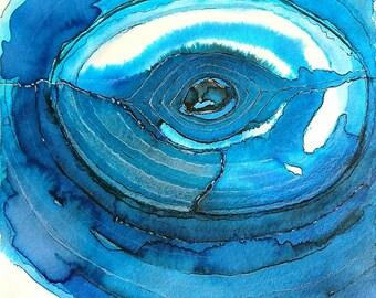 Eye of Shakti, original watercolorpainting, 24 x 18 cm, no frame