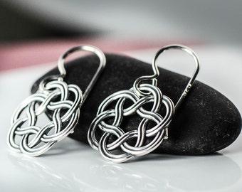All Sterling Silver Celtic Earrings, Celtic  Knot minimalist  sterling silver Irish jewelry