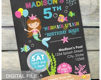 "Mermaid Birthday Chalkboard Invitation Pool Party Girl  - Mermaid Splash Birthday Bash - 5"" x 7"" Digital Invite"