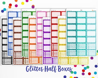 Planner Stickers- Glitter Half Boxes