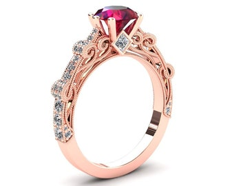 Ruby Engagement Ring 1.00 Carat Ruby And Diamond Ring 14k or 18k Rose Gold CF1RUBYR