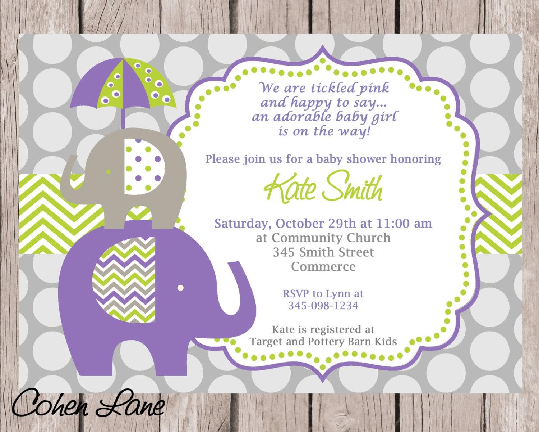 Elephant Invitation Purple Elephant Invite Elephant Baby