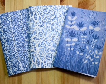 3 small illustrated notebooks - Blue Ink