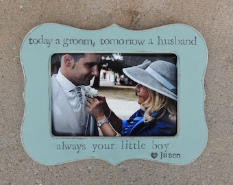 Groom Thank you Gift for mom Mother mommy dad Parent son wedding personalized picture frame mother groom Rustic custom photo frame gift