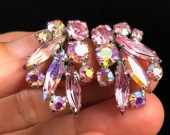 1960s Vintage Sherman Light Pink and Aurora Borealis Swarovski Crystal Rhinestone Earrings