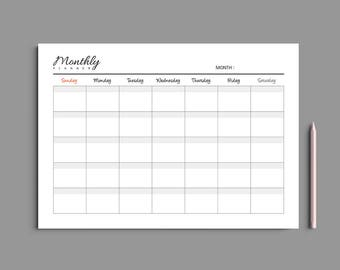 Printable Monthly Planner A4 A5 Letter / Monthly Planner Printable / Monthly Calendar / Desk planner / Undated / Simple / Minimalist  #204