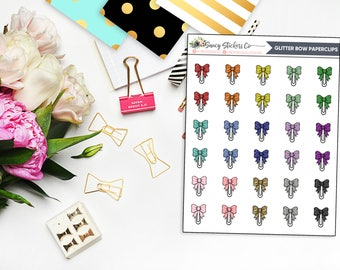 Glitter Bow Paperclip Planner Stickers | for use with Erin Condren Lifeplanner™, Filofax, Personal, A5, Happy Planner