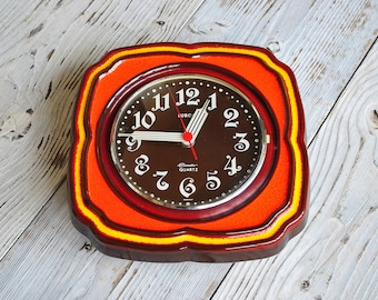 Beautiful Retro Handmade Ceramic Clock.Porcelain/ EUROPA -Germany / German Handmade Wall Kitchen Clock / Germany /70s /