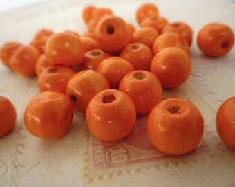 Wooden Beads Round - Orange - 10mm - Pack of 20