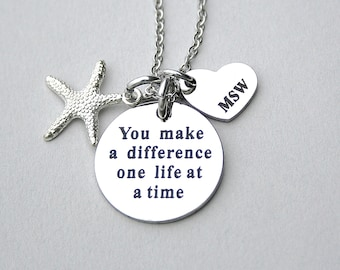 "MSW, Masters degree Social Work Heart Charm, Starfish, Stainless Steel Charm"" You Make A Difference One Life At A Time "" Charm Jewelry"
