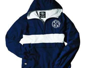 Pullover Windbreaker, Jacket with monogram, Rugby Stripe Jacket, Monogrammed Pullover, Monogram Pullover, Charles River Jacket